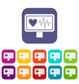 heartbeat icons set vector image