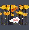 Hello autumn lettering on an autumn leaf fall