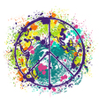 hippie peace symbol on earth globe background vector image vector image