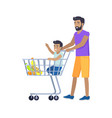 joyful father shopping with his small son banner vector image