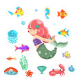 little cute mermaid swimming under sea fishes vector image vector image