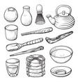 matcha green tea powder and equipment hand drawn vector image
