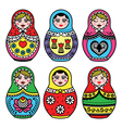 Matryoshka Russian doll colorful icons set vector image vector image