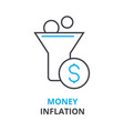 money inflation concept outline icon linear vector image vector image