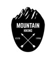 mountain hiking emblem template with rock peak vector image