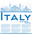 Outline Italy Skyline with Blue Landmarks vector image vector image