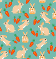 Pattern rabbit jumps sits lies and red carrots vector image vector image