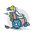 person on a wheelchair moves quickly vector image