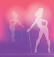 pin-up silhouette of cabaret girl vector image