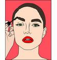 pop art makeup closeup of sexy girl paints her vector image vector image