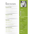 professional personal resume cv in green design vector image vector image