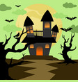 scary halloween house background vector image vector image