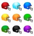 set colour football helmets vector image vector image