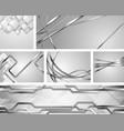 set grey silver metallic tech and wavy vector image