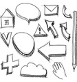 set hand drawn icons black lines on white vector image vector image