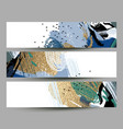 set of artistic creative three cards with hand vector image vector image