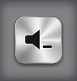 Speaker volume quiet icon - metal app butto vector image
