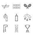 tennis icons set outline style vector image vector image