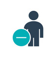 user profile with minus colored icon dismissed vector image vector image