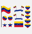 venezuela flag set symbols flag in heart vector image vector image