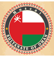 Vintage label cards of Oman flag vector image vector image
