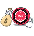 with money bag funfair coin character cartoon vector image vector image