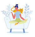 woman relaxing with cat flat vector image vector image