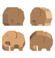 wooden handcraft elephant set on white background vector image vector image