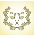 wreath of graphic oak leaves and acorn branches vector image vector image