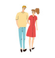 young couple boy and girl together walking vector image vector image