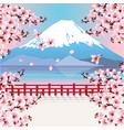 mountain with cherry blossom flowers vector image