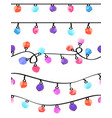 set of seamless watercolor garland borders on vector image