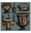 ancient greece antique amphora set vase with vector image vector image