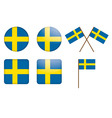 badges with Sweden flag vector image