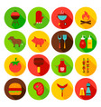 barbecue food circle icons set vector image vector image
