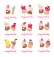 birthday card set festive sweet numbers from 51 vector image vector image