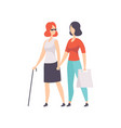 blind girl and her friend supporting her disabled vector image vector image