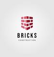 brick shield construction logo building label vector image vector image