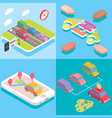carpool service concept in isometric style design vector image