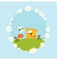 Cartoon beehive honey bees flowers fruits vintage vector image vector image