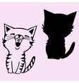 cat sings silhouette vector image vector image