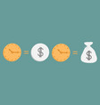 clock and dollar coin bag icon set line time vector image