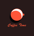 coffee time cup of coffee top view flat design vector image vector image
