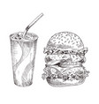 cold soft beverage and huge burger graphic art vector image vector image