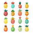 colorful pineapples ornaments set ethnic festive vector image vector image