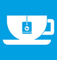 Cup of tea with tea bag icon white