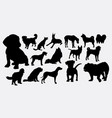 dog and puppy silhouette vector image vector image