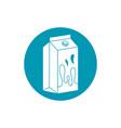 drinks beverage fresh box milk or juice blue block vector image