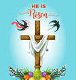 easter sunday cross with eggs greeting card vector image vector image