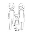family father mother and son together standing vector image